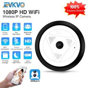 EVKVO-cámara panorámica de 360 grados, HD 960P, inalámbrica, Wifi, sistema de vigilancia de seguridad para el hogar, cámara IP P2P 360eye