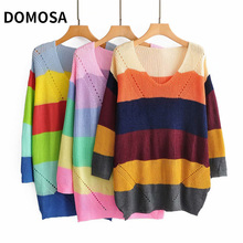 Women's loose and versatile color contrast Rainbow Stripe Pullover long sleeve knitted sweaterwomen Elasticity Sweaters Spring contrast stripe knot tee