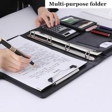 A4 مجلد ملفات مؤتمر متعددة الوظائف الحقيبة غطاء مكتب إدارة الأعمال كليب الموثق حاسبة حامل بطاقة مدير كليب