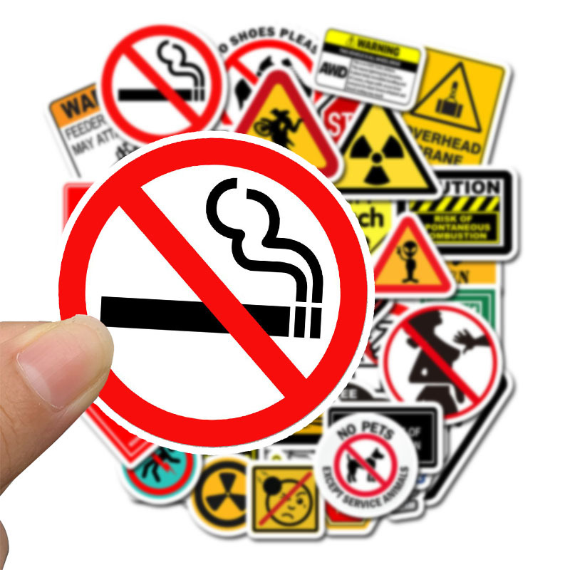 50 PCS Warning Stickers Danger Banning Signs Reminder Waterproof Decal Sticker To DIY Laptop Motorcycle Luggage Snowboard Car F4