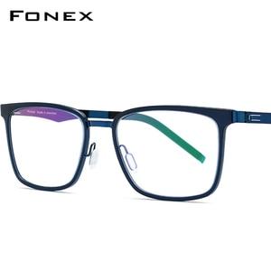 Мужские квадратные оправы для очков FONEX TR90, очки для близорукости по рецепту, очки без отверток 516