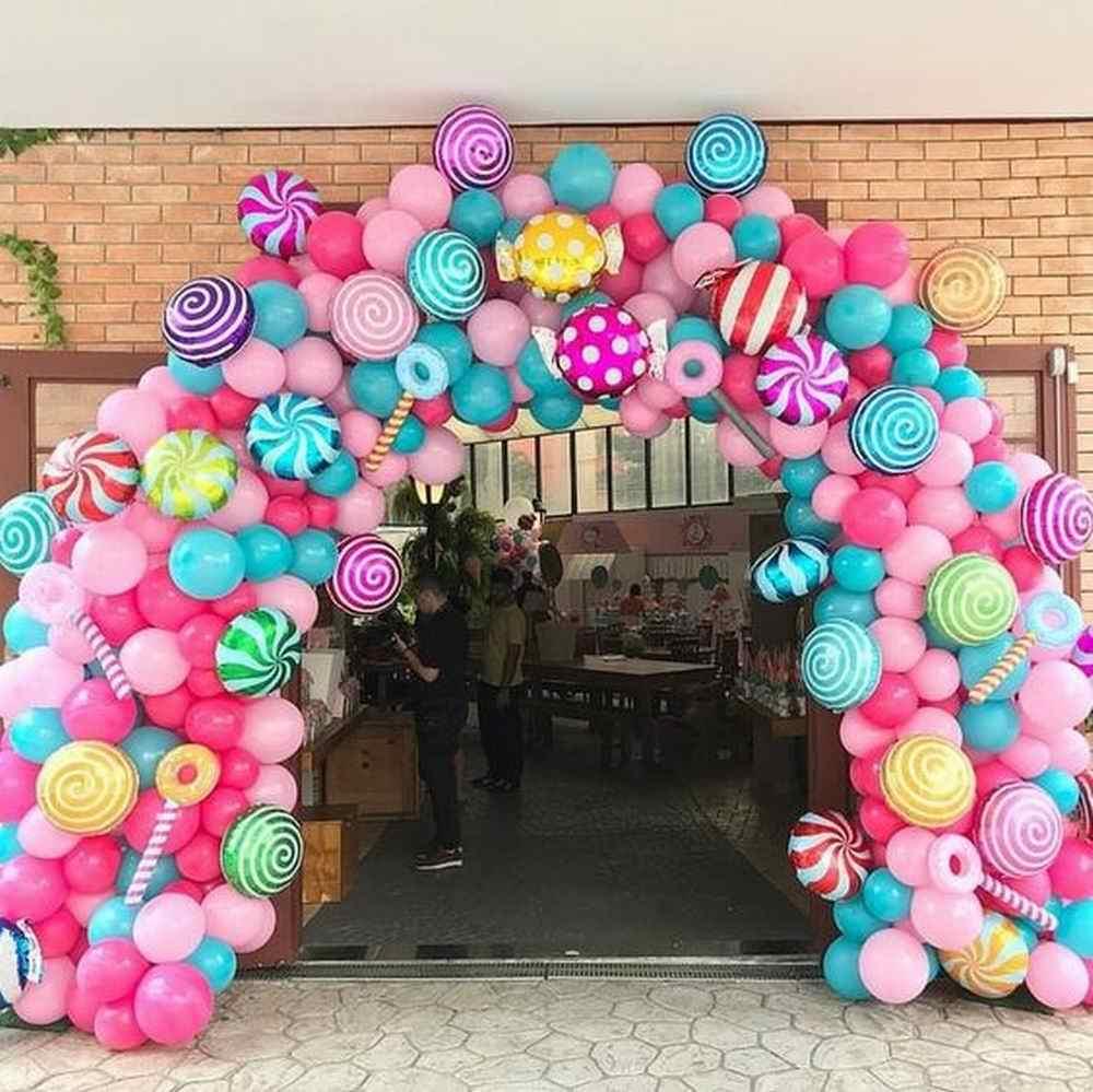 10 قطعة 18 بوصة الملونة الحلوى احباط بالونات مصاصة الهيليوم كرات الزفاف حفلة عيد ميلاد زينة استحمام الطفل الاطفال الفتيات Globos
