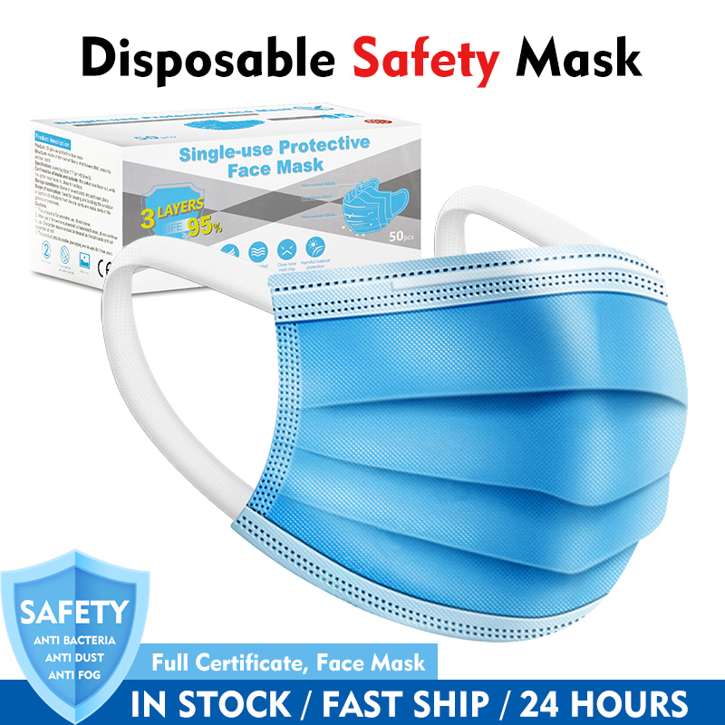 10/50pcs 3 Layer Disposable Elastic Mouth Soft Breathable Blue Soft Breathable Hygiene Child Kids Face Mask Dropshipping
