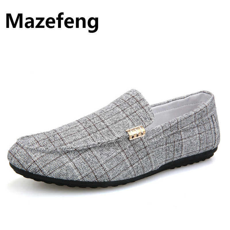 Mazefeng Men Casual Shoes Spring Summer Men Loafers New Slip On Light Canvas Youth Men Shoes Breathable Fashion Flat Footwear