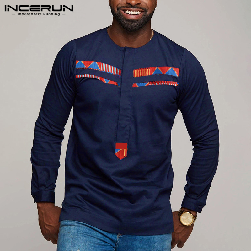 INCERUN Fashion Men Shirt Print Patchwork Long Sleeve Fitness Casual Streetwear Tops Camisa Dashiki African Shirts Men Clothes
