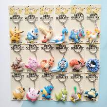 3D Anime Pocket Monsters Pikachu Pokemon Ir Anel Chave Keychain Chave Pingente Titular Mini Charmander Squirtle Eevee Figuras Vulpix(China)