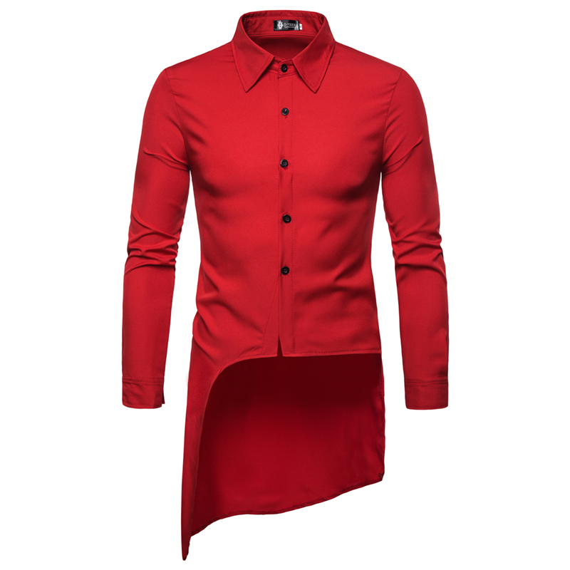 4 Colors Men Shirt Men's Slim Fit Dress Shirt Male Long Sleeves FIrregular Lap Casual Shirt Camisa Masculina Male Clothes