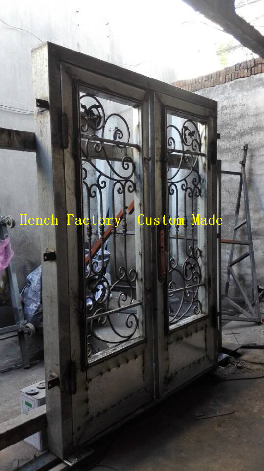 Shanghai Hench Brand China Factory 100% Custom Made Sale Australia Fiberglass Doors With Wrought Iron