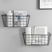 Rack-Organizer Wall-Shelf Holder Basket Storage-Box Wall-Hanging-Rack Iron Bathroom Kitchen