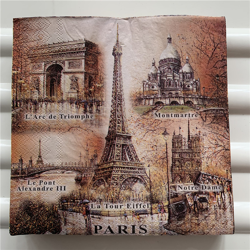 Decoupage Wedding Vintage Napkins Paper Elegant Tissue Tower Church Paris  Stamp Craft Birthday Party Beautiful Serviettes Decor
