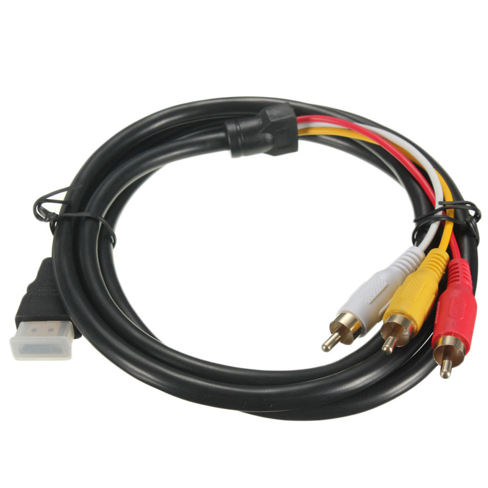 5 Feet 1080P HDTV <font><b>HDMI</b></font> Male to 3 RCA Audio Video AV <font><b>Cable</b></font> Cord Adapter Converter Connector Component <font><b>Cable</b></font> Lead For HDTV NEW image