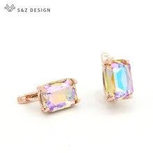 S & Z – boucles d'oreilles en cristal pour femmes, DESIGN coréen, carré, or Rose, rectangulaire, bijoux de mariage