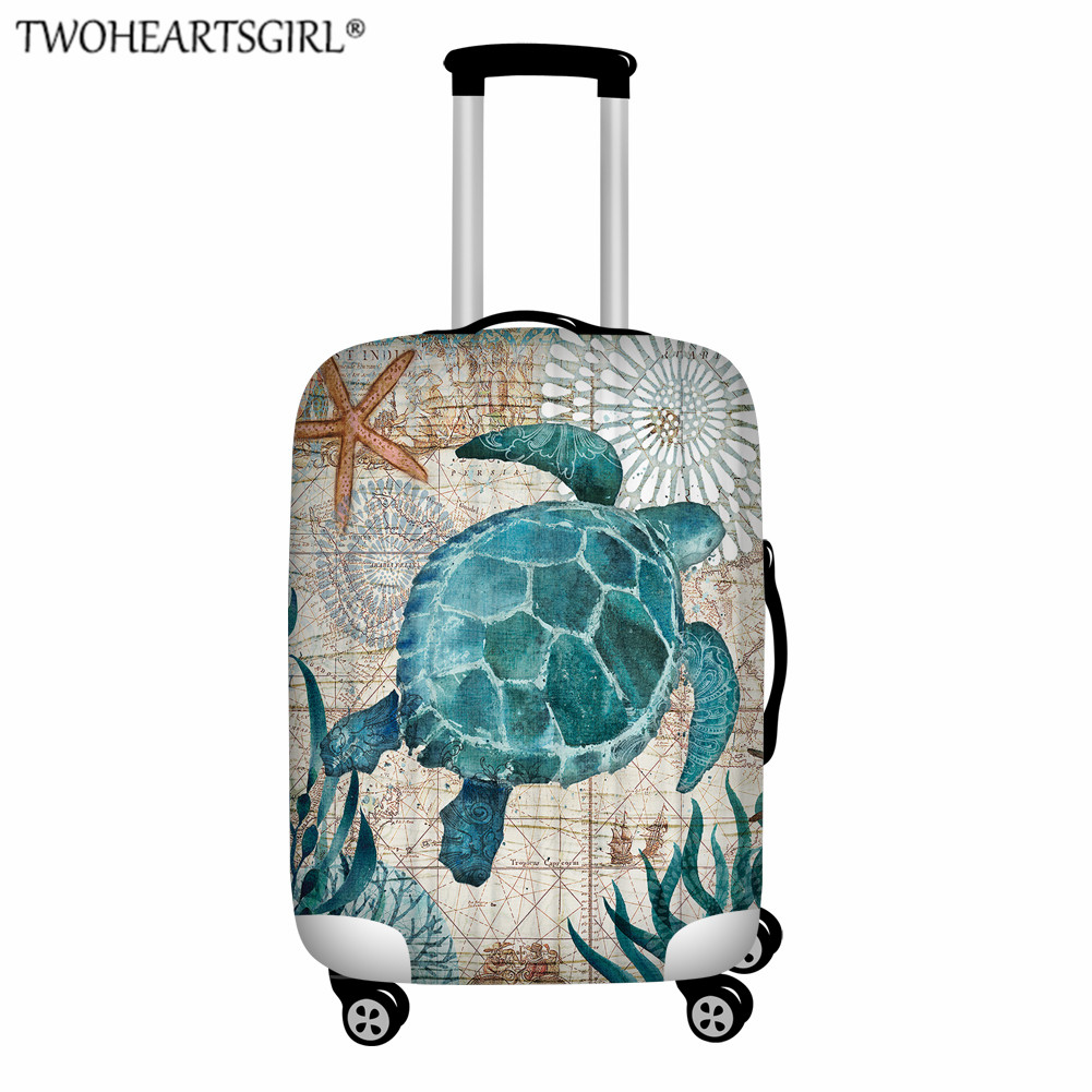 TWOHEARTSGIRL Novel Turtle Elastic Luggage Cover Protective Apply To 18-32 Inch Suitcase Case Dust Cover Travel Accessories