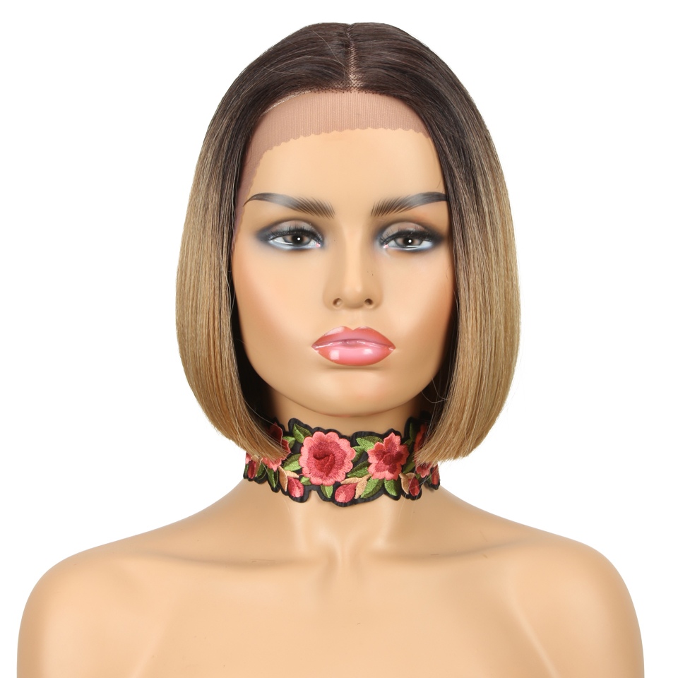 NATURE Hair Synthetic Wigs Short BOB Straight Fake Hair 10 inch Lace Wig Ombre Blonde 613 Red Brown Cosplay Wigs For Black Women