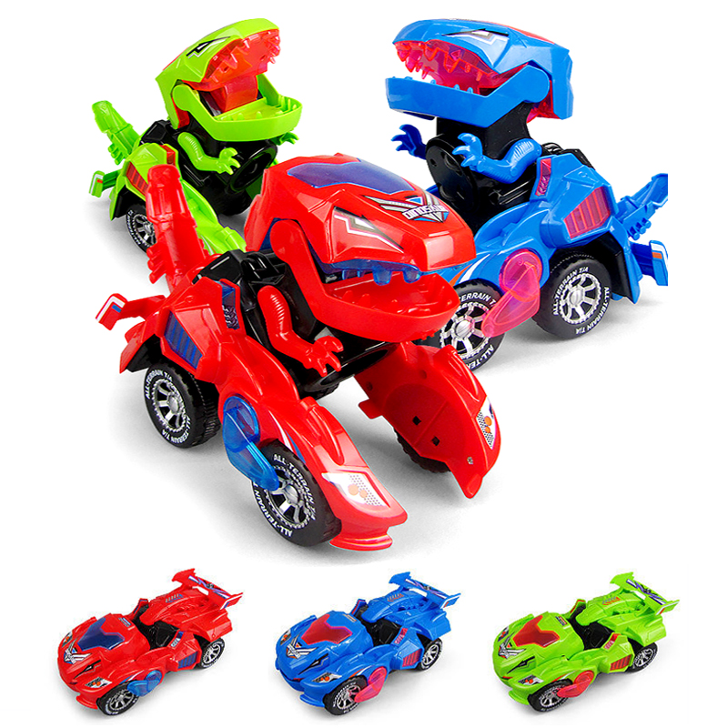 3D Deform Dinosour LED Electric Car Toy Universal Wheel Transformation Robot Dinosour Car Vehicle With Light Music Gift For Kids