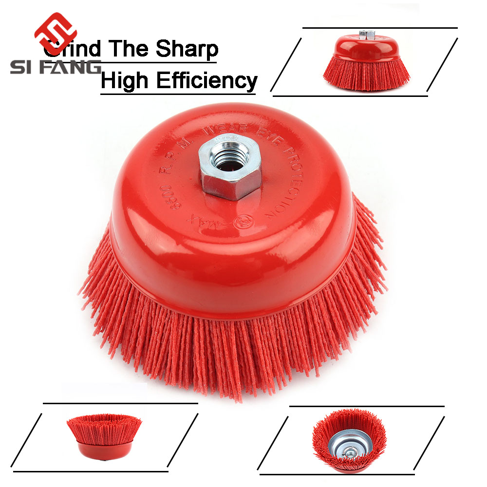 125mm Cup Nylon Abrasive Brush Wheel M14 M16 Pile Polymer-abrasive 5inch Angle Grinder Tool Grit 80