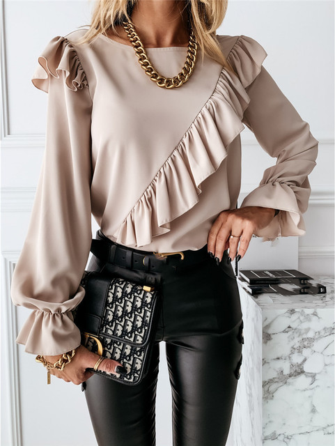 CHRONSTYLE Women Ruffle Shirt Blouse 2021 Solid Color Outwear Casual Long Flare Sleeve Loose Tops Long Sleeve Office Lady Shirts 3