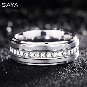 Кольцо для мужчин, ширина 8 мм, белые кольца из карбида вольфрама, модные ювелирные изделия с чешскими камнями, вращающиеся кольца, по индиви...