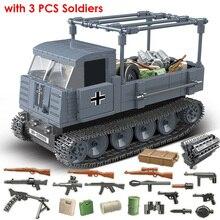 551 adet alman ordusu RSO zırhlı kamyon silah askerler askeri araçlar yapı taşları uyumlu WW2 figürleri oyuncaklar