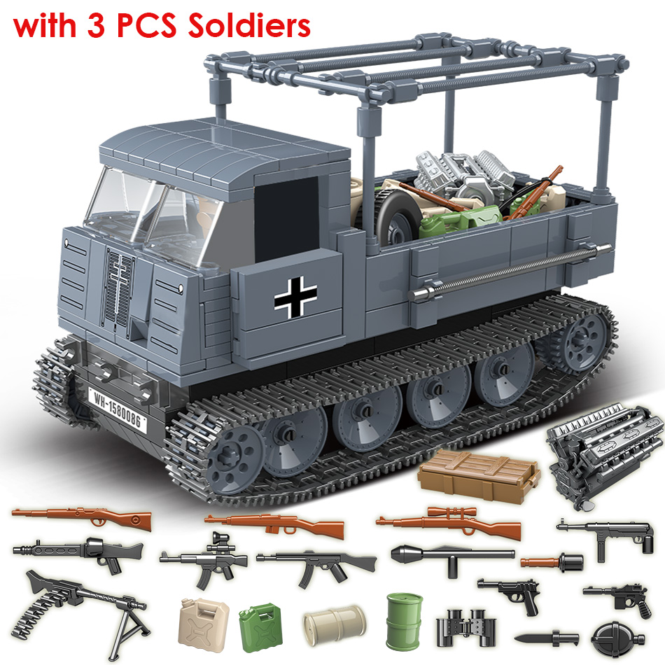 551PCS German Army RSO Armored Truck with Weapon Soldiers Military Vehicles Building Blocks Compatible WW2 Figures ToysBlocks   -