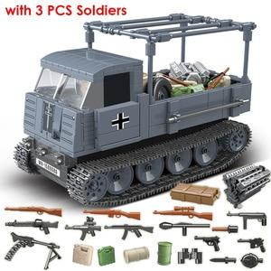 Image 1 - 551PCS גרמנית צבא RSO משוריין משאית עם נשק צבאיים כלי רכב אבני בניין תואם WW2 דמויות צעצועים