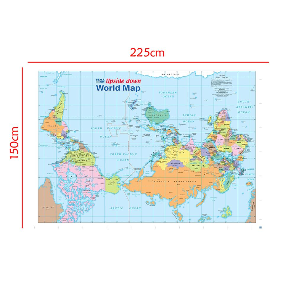 The World Map Upside Down Non-woven Waterproof Map Without National Flag For Beginner 150x225cm