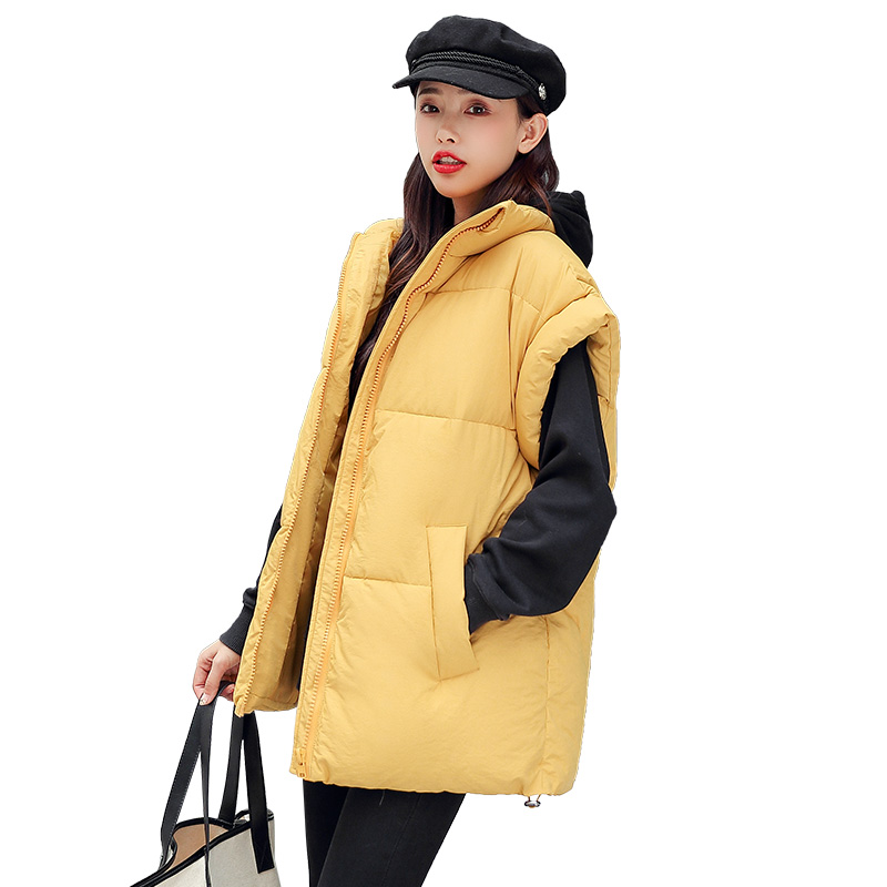 Female Short Waistcoat Winter New Wild Vest Loose Casual Waistcoat Down Cotton Vest Shoulder Collar Protection Shoulder Jacket