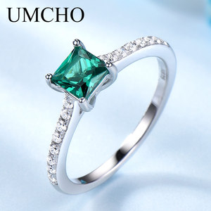 Image 1 - UMCHO Green Emerald Gemstone Rings for Women Genuine 925 Sterling Silver Fashion May Birthstone Ring Romantic Gift Fine Jewelry