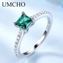 Umcho グリーンエメラルド宝石リング女性のための本物の 925 スターリングシルバーファッション月誕生石リングロマンチックなギフトファインジュエリー