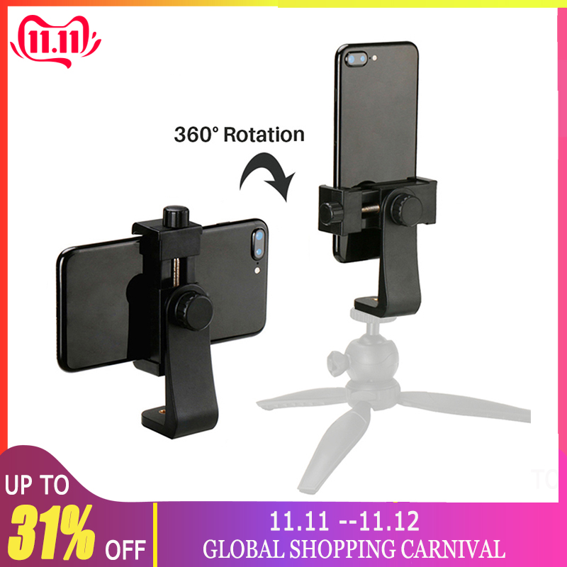 Universal Phone Tripod Mount Adapter Cellphone Clipper Vertical 360 Tripod Stand for iPhone X 7 8 Plus Samsung S8 S7 image