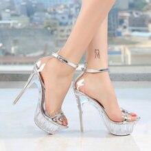 Женские туфли на платформе и высоком каблуке 14 см со стразами