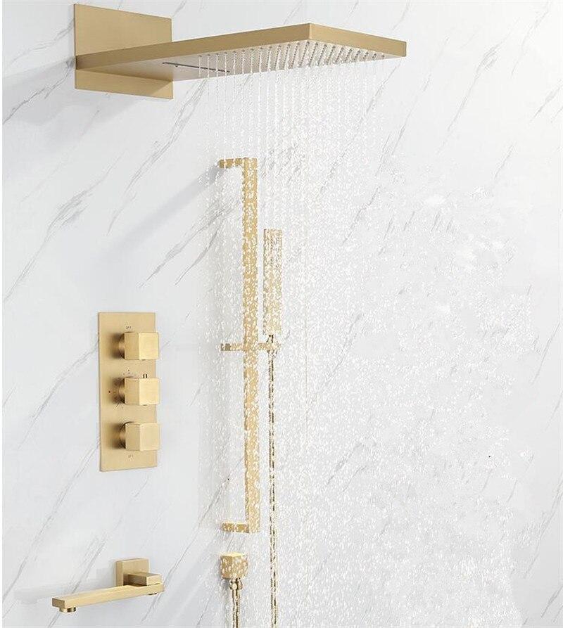 Termostatyczny prysznic kran do łazienki w ścianie złoty do kąpieli i pod prysznic zestaw kranów czarny mieszacz termostatyczny prysznic do kąpieli i opadów