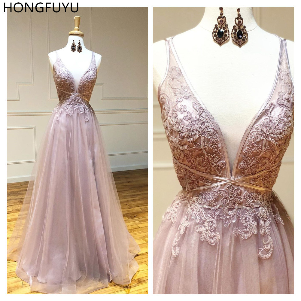HONGFUYU A-Line Tulle Evening Dresses Sweep Train Prom Dresses Robe De Soiree Party Dress Sleeveless Formal Gowns Lace Appliques