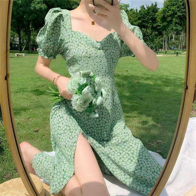 Summer_Floral_Dress_Women_French_Style_Puff_Sleeve_Chiffon_Split_Fairy_Dress_Sexy_Elegant_Korean_Sty 1