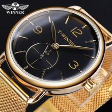 лучшая цена Winner Fashion Male Mechanical Watch Golden Black Slim Analog Stainless Steel Mesh Band Men Relogio Masculino Hand Winding Clock