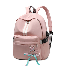 Fashion Lady Backpack USB Charging Bag Youth Girl School Backpack Travel Laptop Backpack Student Bag
