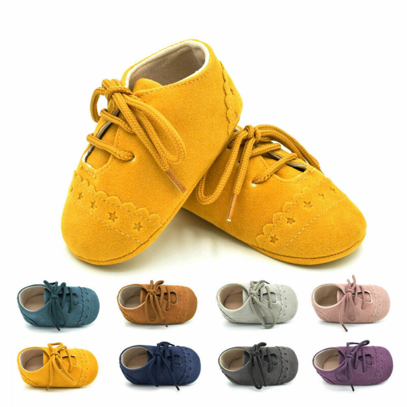 Unisex Baby Shoes Cotton Baby Girls Shoes Cross Lace Up Baby Boys First Walkers Yellow Brown Purple Toddler Soft Anti-Slip Shoes