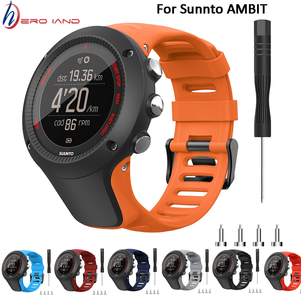 New Strap For SUUNTO Ambit 1 2 3 2R 2S 24mm Men's Watch Rubber Band Bracelet Belt With Screws And Screwdriver Watch Accessories