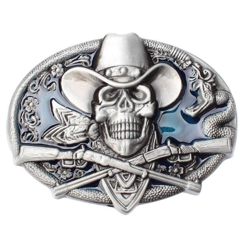 Skull Skeleton Belt Buckle Belt DIY Accessories Western Cowboy Style Smooth Belt Buckle Punk Rock Style Ghost Rider