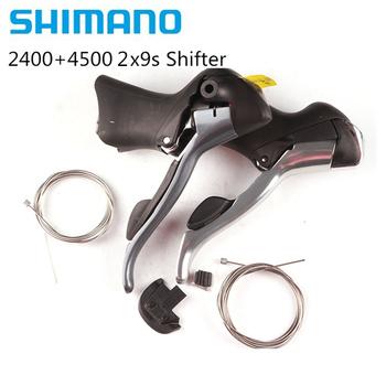 Shimano Claris 2400 Tiagra 4500 STi 2 #215 9 prędkość stei-road lewostronna podwójna dźwignia rowerowa 2400 4500 18s Shifter tanie i dobre opinie Derailleurs 18 prędkości Przerzutki Stop 2400+4500