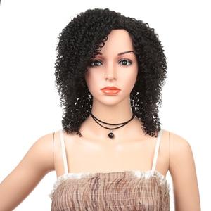 Image 1 - 12 inç kısa peruk sentetik saç siyah kadınlar için Afro Kinky kıvırcık Ombre kahverengi Cosplay peruk yüksek sıcaklık Fiber saç expo şehir