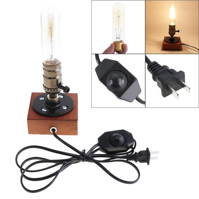 Lampada da tavolo retrò lampada da comodino a presa singola Base in legno lampadina Edison Vintage creativa con portalampada