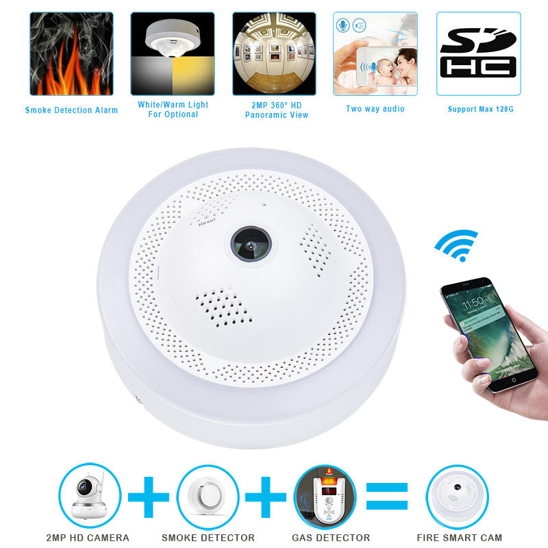 Wardmay Smart Home Security WiFi Standalone 360 Degre IP Camera W/High Sensitive Smoke Fire Dangerous Gas Alarm Sensor Detectors
