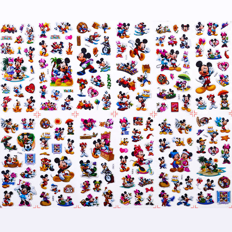 12 Sheets/set Mickey Minnie Scrapbooking For Kids Rooms Decor Diary Notebook Decoration Toy 3D Sticker