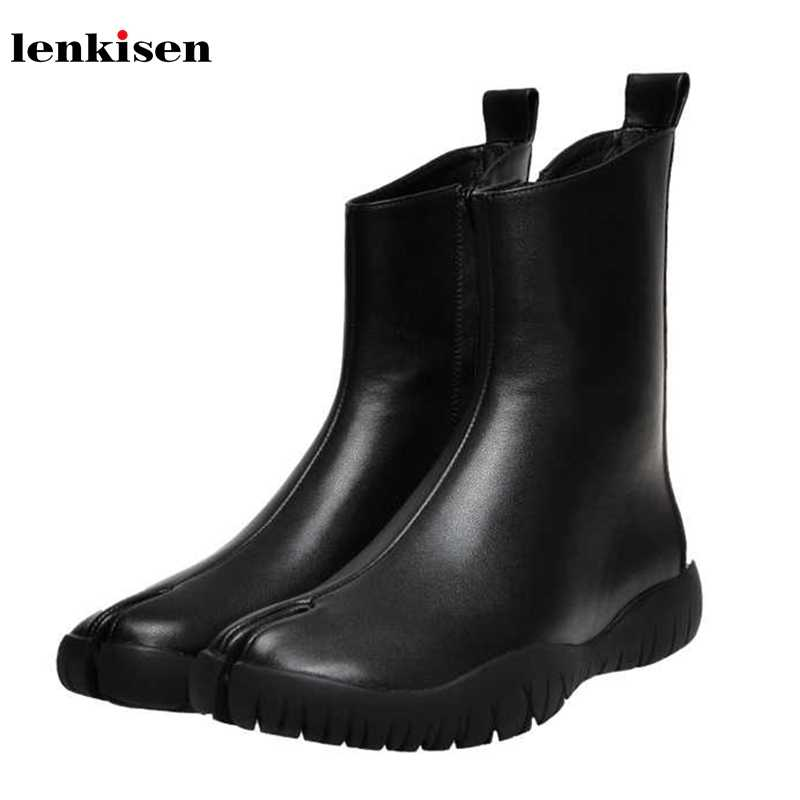Lenkisen hot popular genuine leather Split toe boots round toe med heels fashion solid keep warm winter women ankle boots L19
