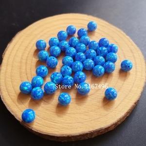 Image 1 - 100 יח\חבילה 6mm סינטטי עגול כדור אופל חרוזים כחול עגול אופל אבן מחיר עבור צמיד & שרשרת