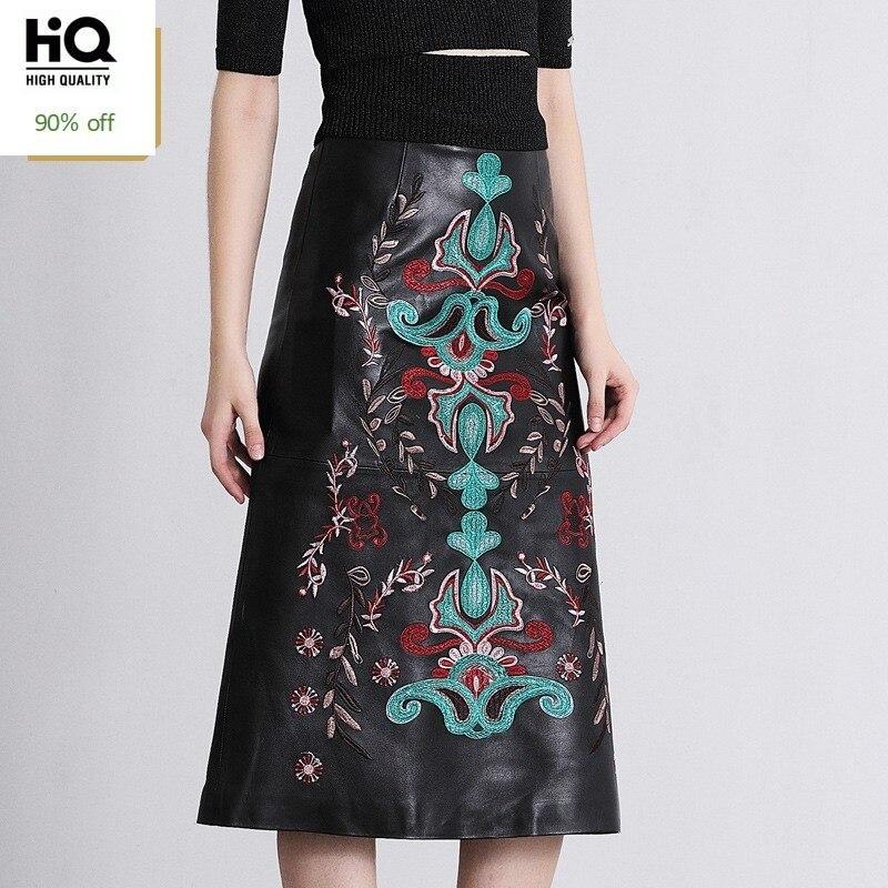 Folk Floral Embroidery Mid-Calf Women Skirts High Waist A-Line Straight Harajuku Jupe Femme Streetwear Sheepskin Leather Skirt