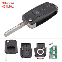 434MHz 3 Buttons Keyless Uncut Flip Remote Key Fob with ID48 Chip for Caddy / Sirocco /Touran