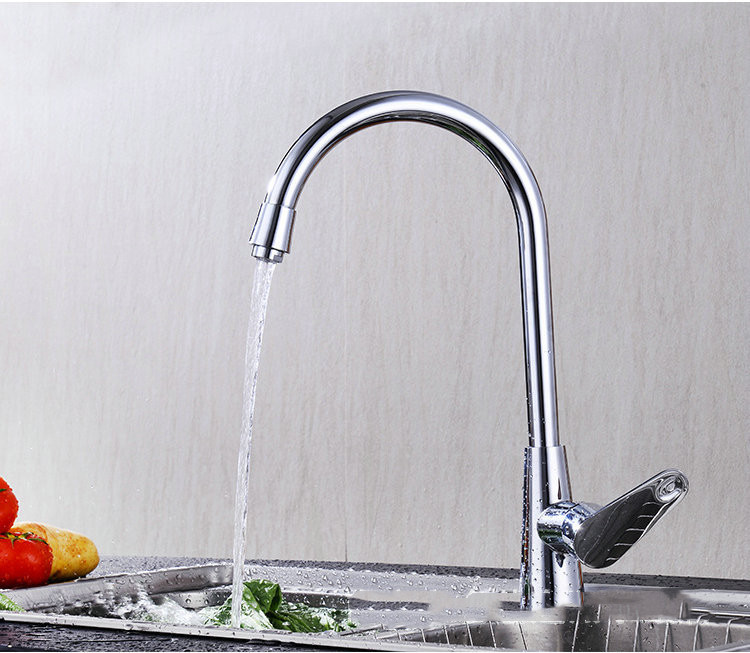Hot Cold Water Classic Kitchen Faucet Space Aluminum Brushed Process Swivel Faucet 360 Degree Rotation Sink Taps For Kitchen