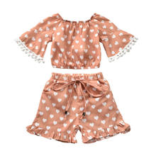 Summer Print Cotton Clothing Set Kids Baby Girl Clothes Tassel Off-shoulder Tops+shorts Pants Outfits 0-5 Years(China)
